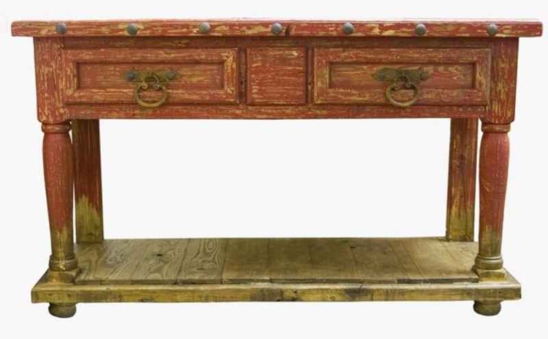 Old Wood Rustic Red Console Table