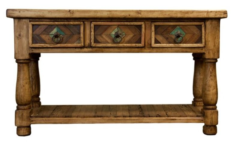 Painted Parquet Reclaimed Wood Console