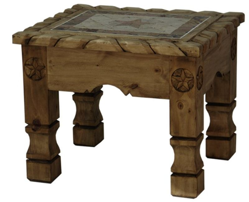 Rope, Stone, and Star Rustic Coffee Table Set in Medio