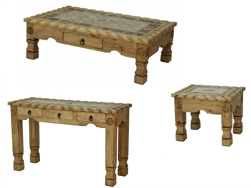Cen023ts Rope Stone And Star Rustic Coffee Table Set