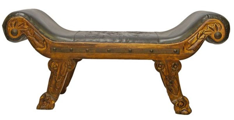 Rustic Roman Tooled Leather Bench