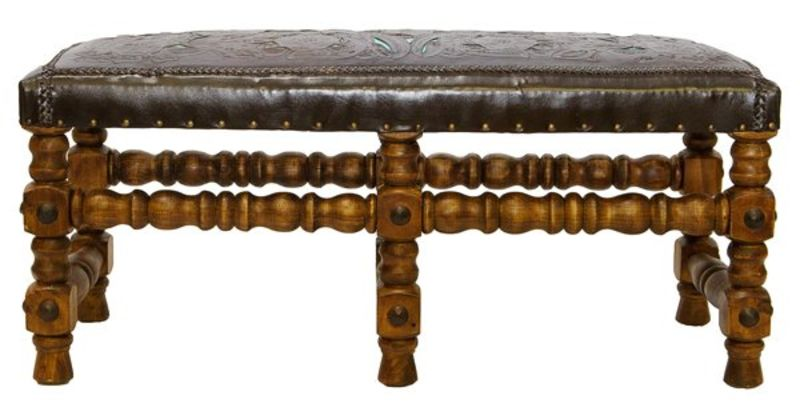 Rustic Tooled Leather Bench