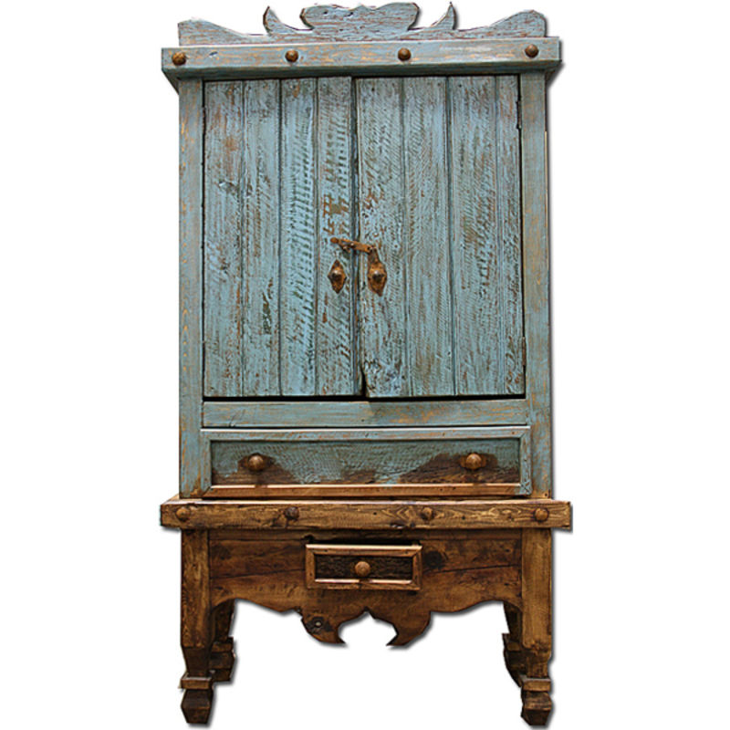 Rustic Turquoise Wash Armoire