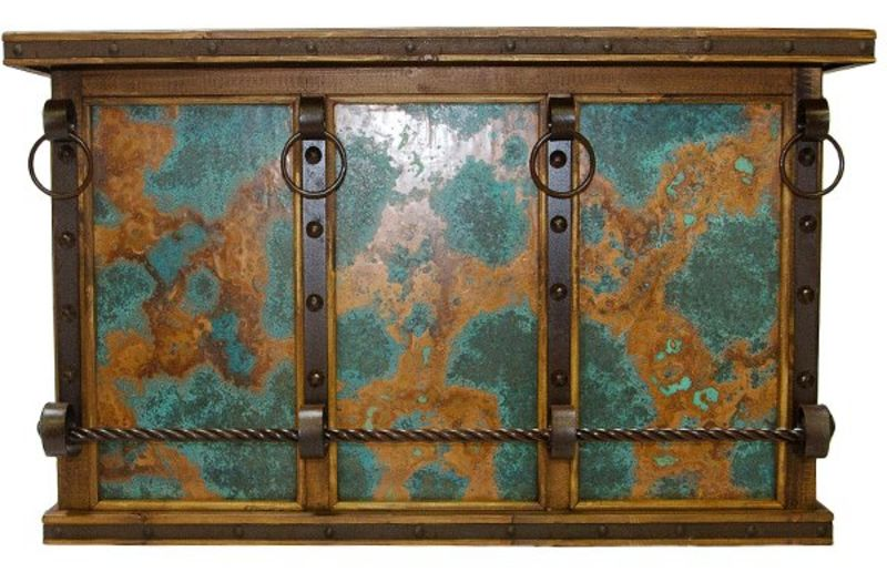Marvelous Rustic Bar With Turquoise Copper Panels ...