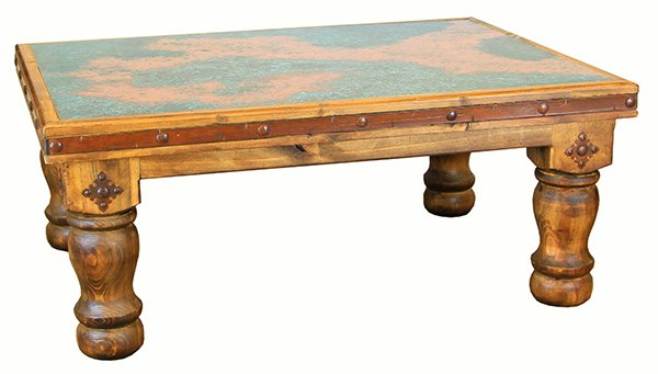 Turquoise Copper Rustic Coffee Table Set