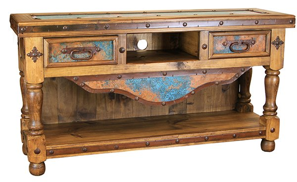 Dallas Designer Furniture Turquoise Copper Rustic Coffee Table Set