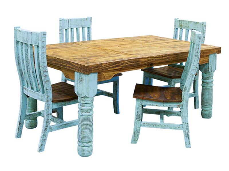 LMT | Turquoise Washed Rustic Dining Room Set | Dallas Designer Furniture