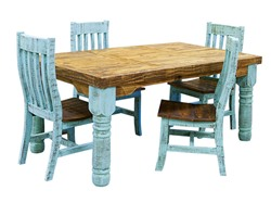 Turquoise Washed Rustic Dining Room Set