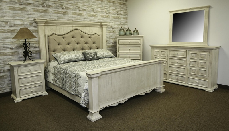 Terra White Rustic Bedroom Set with Upholstered Headboard