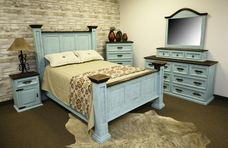 Oasis Turquoise Washed Rustic Bedroom Set