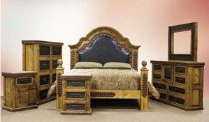 Alamo Tooled Leather Rustic Bedroom Set