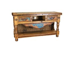 Rustic TV Stand with Turquoise Copper Panels