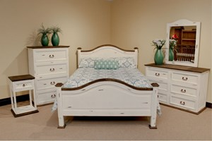 Promo Distressed White Bedroom Set