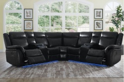 Levin Reclining Sectional Sofa in Black