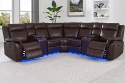 Levin Reclining Sectional Sofa in Cocoa