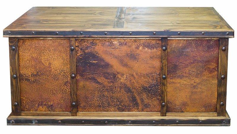 Laguna Rustic Desk with Copper Panels
