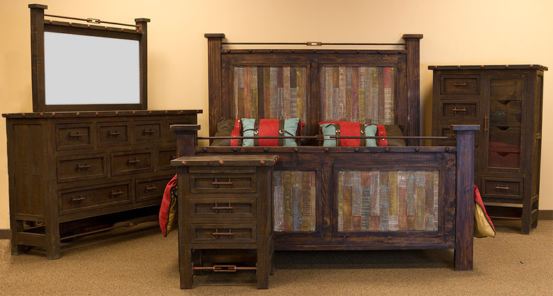 Las Piedras Rustic Bedroom Set with Colored Panels