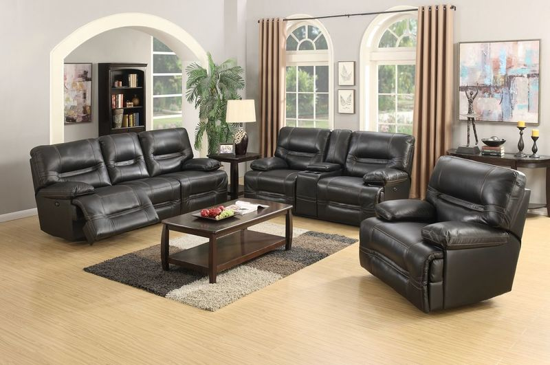 Ballantyne Top Grain Reclining Leather Living Room Set