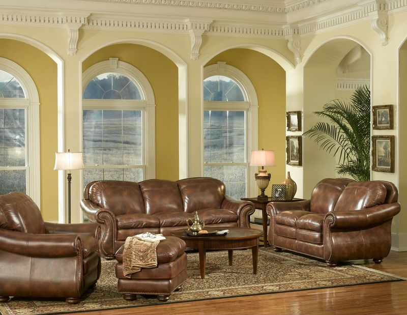 Duplin Top Grain Leather Living Room Set