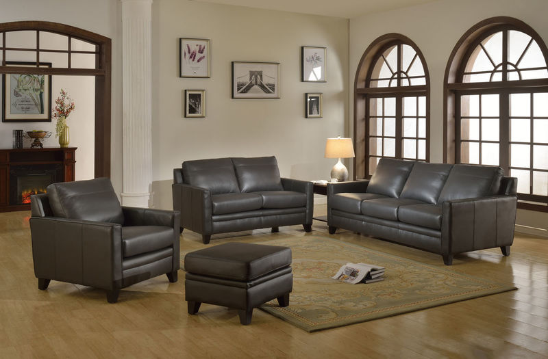 Fletcher Top Grain Leather Living Room Set in Charcoal