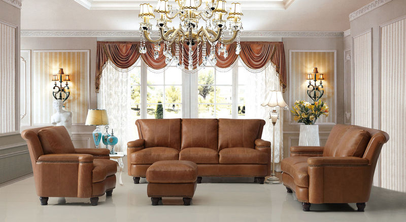Hutton Top Grain Leather Living Room Set