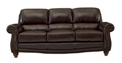 James Top Grain Leather Living Room Set in Tobacco