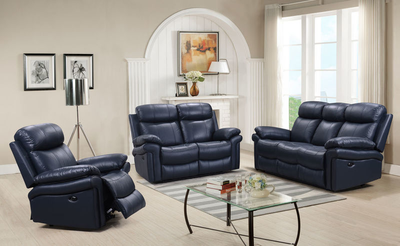 Joplin Top Grain Leather Reclining Living Room Set in Blue