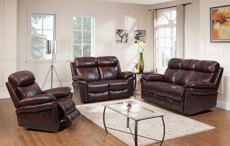 Joplin Top Grain Leather Reclining Living Room Set in Brown
