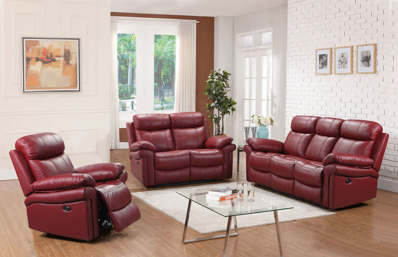 Joplin Top Grain Leather Reclining Living Room Set in Red