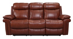 Joplin Top Grain Leather Reclining Living Room Set in Saddle
