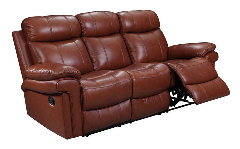Joplin Top Grain Leather Reclining Living Room Set in Saddle