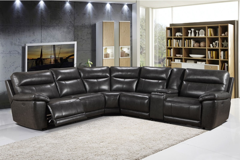 Martin Grey Leather Reclining Sectional
