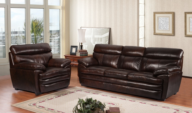 Scottsdale Leather Living Room Set in Dark Brown
