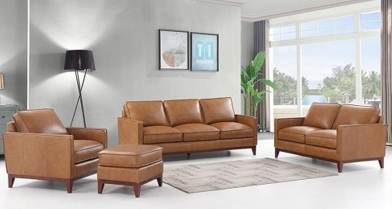 Newport Leather Living Room Set in Camel