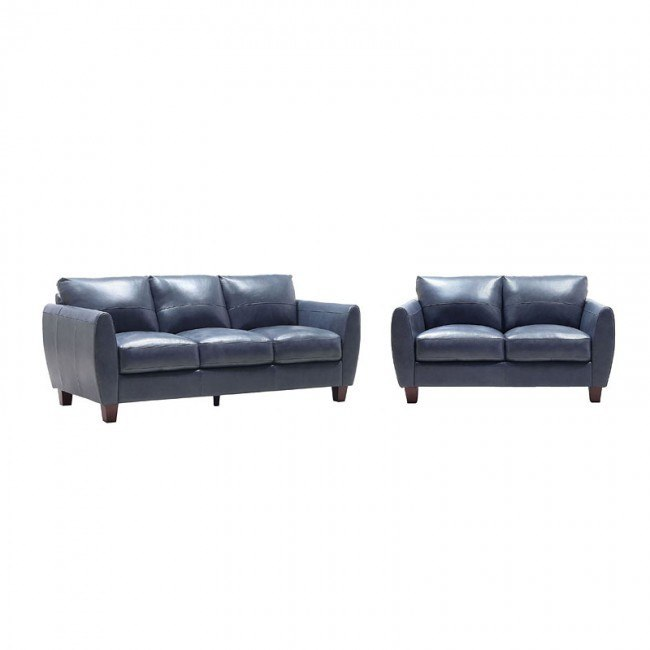 Traverse Blue Leather Living Room Set