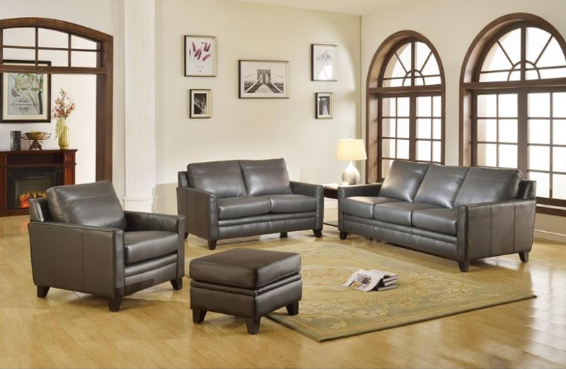 Chicago Leather Living Room Set in Peacock