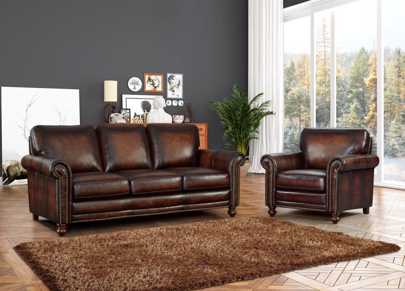 Hampton Leather Living Room Set in Beautiful Brown