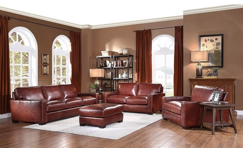 Randall Leather Living Room Set in Chestnut