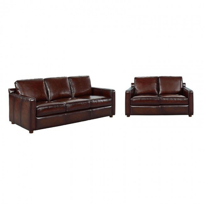 Stockton Brown Leather Living Room Set
