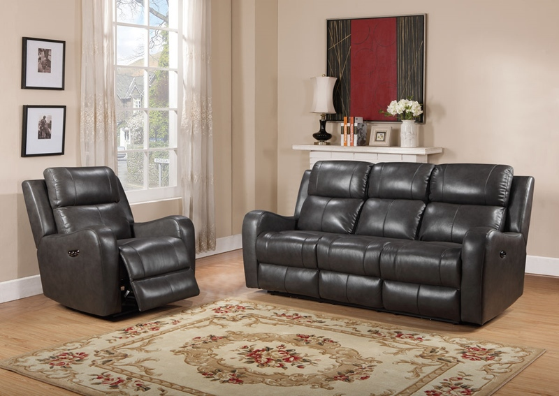 Cortana Dark Grey Reclining Living Room Set