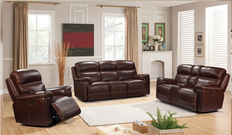 Fresno Brown Leather Reclining Living Room Set