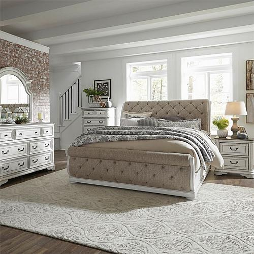 Magnolia Manor Bedroom Set with Upholstered Sleigh Bed