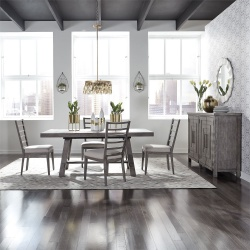 Modern Farmhouse Dining Room Set with Ladder Back Chairs in Charcoal
