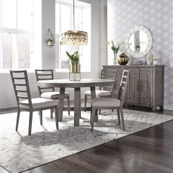 Modern Farmhouse Round Dining Room Set with Ladder Back Chairs in Charcoal
