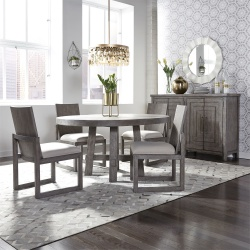 Modern Farmhouse Round Dining Room Set with Panel Back Chairs in Charcoal