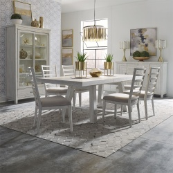 Modern Farmhouse Dining Room Set with Ladder Back Chairs in White