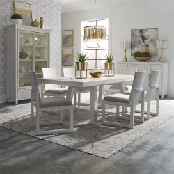 Modern Farmhouse Dining Room Set with Panel Back Chairs in White