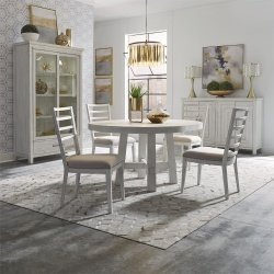 Modern Farmhouse Round Dining Room Set with Ladder Back Chairs in White