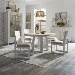 Modern Farmhouse Round Dining Room Set with Panel Back Chairs in White