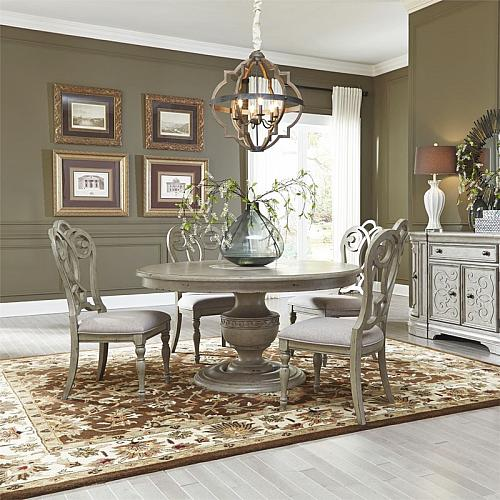 Grand Estates Round Formal Dining Room Set with Splat Back Chairs